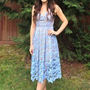Love...ady Nordstrom lace blue midi dress sz. XS